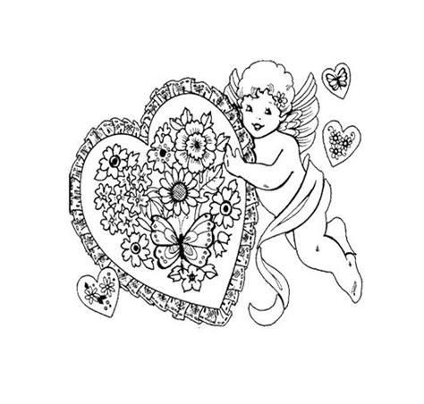 valentine angels coloring pages angel heart happy valentine s day coloring page for kids