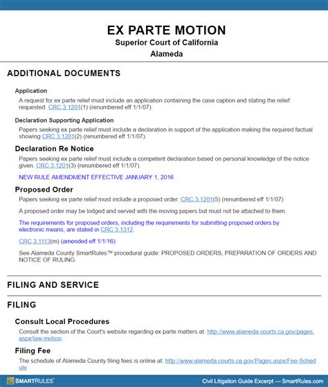 ex parte motion in california superior court at a glance