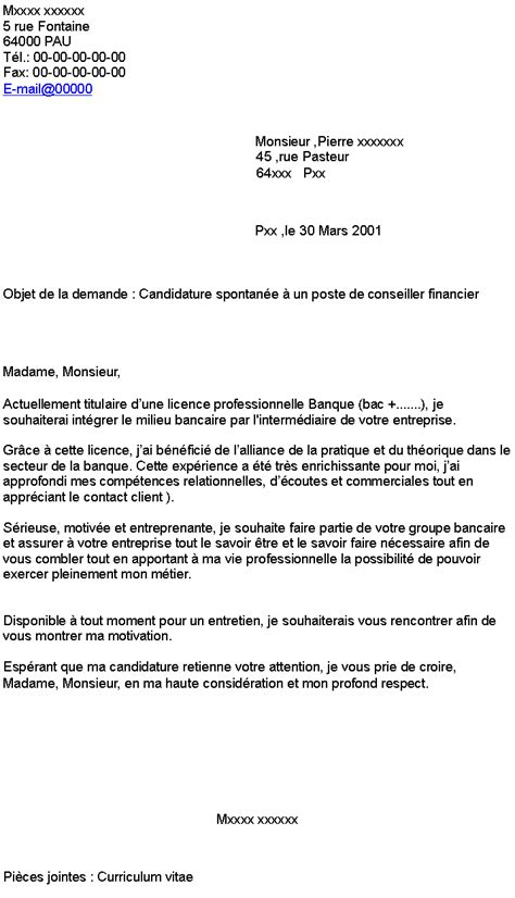 Lettre De Motivation La Banque candidature spontan 233 e banque lettre de motivation 2018