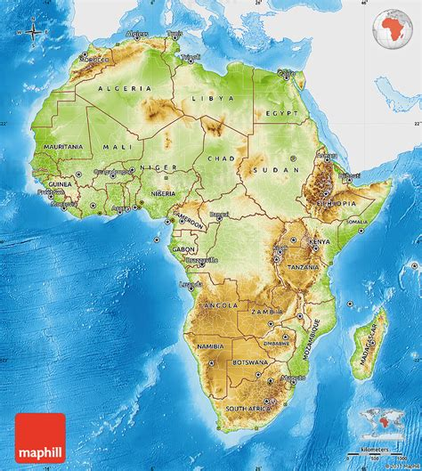 africa map features physical map of africa single color outside