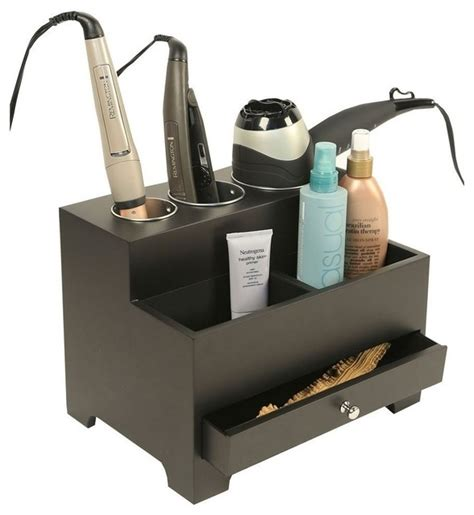 Modern Bathroom Organizers Hair Styling Tool Organizer Black Contemporary
