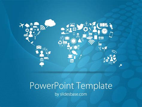 Symbolic World Map Powerpoint Template Slidesbase World Template Powerpoint