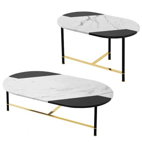black and white marble table coffee table or side table in black and white inlaid marble top with brass legs for sale at 1stdibs