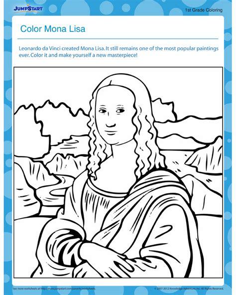 printable images mona lisa color mona lisa free printable coloring page for kids