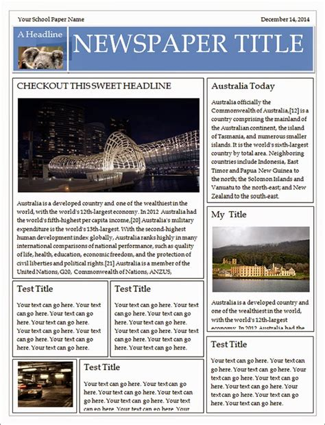 Newspaper Templates Free by Best Newspaper Templates Free