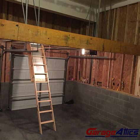 Garage Pull Stairs by Storage Loft In Garage W Pull Stairs Overhead