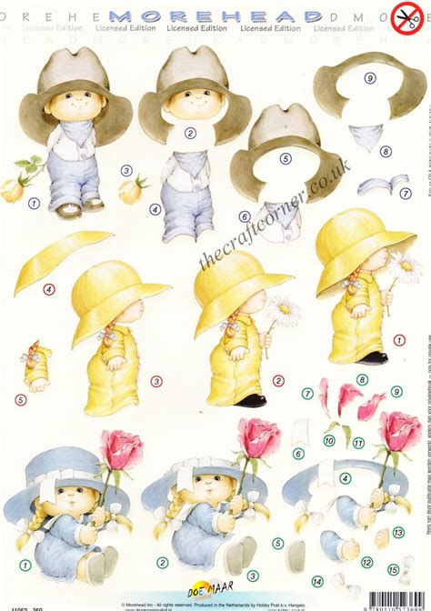 decoupage for children morehead children in hats with flowers 3d die cut