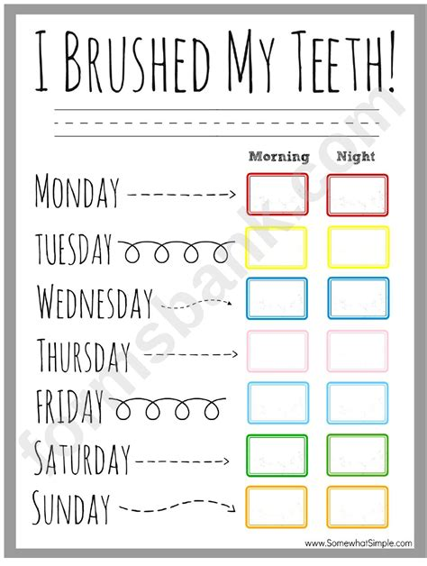teeth brushing incentive chart printable