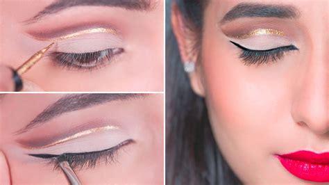 eyeliner tutorial glamrs easy glitter cut crease eye makeup tutorial for indian