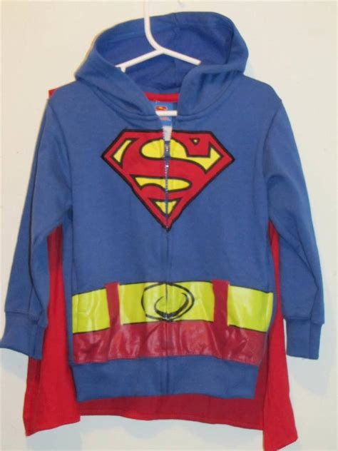 Jaket Zipper Hoddie Sweater Dc Logo new boy s dc comics superman zip hoodie jacket w cape sizes 4 6 ebay