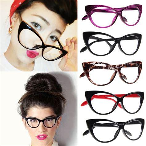 fashion clear lenses black cat eye frame