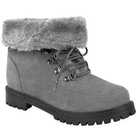 Faux Fur Lace Up Ankle Boots new womens faux fur grip sole winter warm ankle