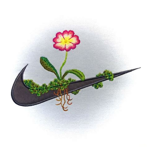 embroidery design nike artist transforms famous brand logos with floral embroidery