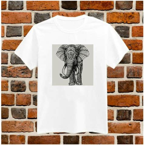 Vebita Elephant Casual Shirt aztec elephant drawing print tshirt for cotton casual shirt white top tees big size s xxxl