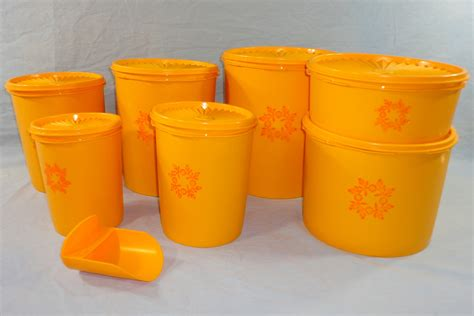 Tupperware Canister Gold Kerupuk vintage tupperware brand new gold yellow orange servalier canister set of 7 vintage toys for