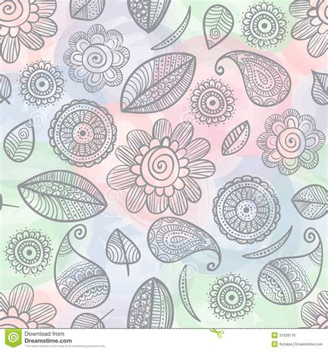free doodle pattern vector flower doodles watercolor seamless pattern stock vector