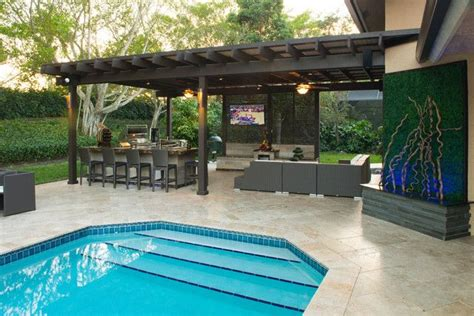 florida patio designs outdoor kitchen and pergola project in south florida