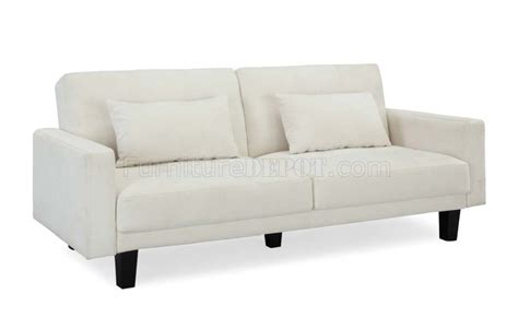 Ivory Microfiber Modern Convertible Sofa Bed W Wooden Legs