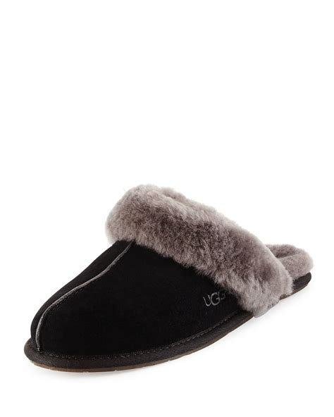 scuffette slippers ugg scuffette shearling slide slipper in black for lyst