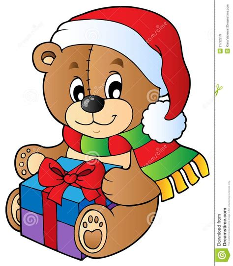 clipart natalizi teddy with gift royalty free stock images