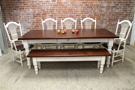 Classic Farmhouse Table With White Base   ECustomFinishes