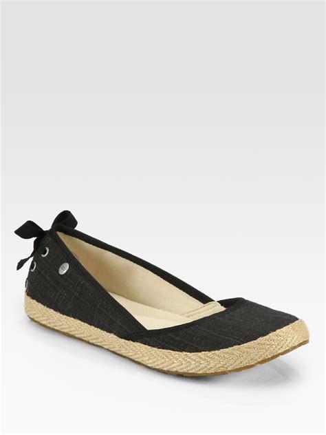 espadrilles shoes flats ugg indah canvas espadrille flats in black lyst