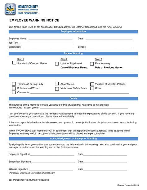 standard employee warning notice templates