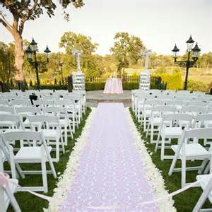 Wedding Aisle With Tables by 500x Snow White Silk Petal More Color Availables