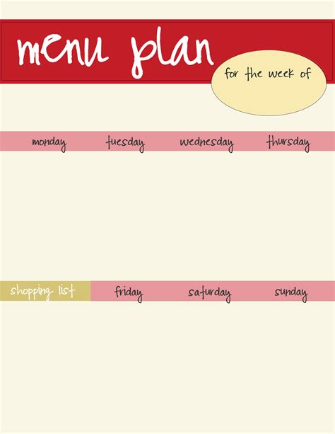Meal Planning Template Free Download Live Craft Eat Craft Menu Template