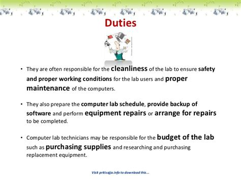 Lab Technician Duties And Responsibilities by Of Laboratory Technicians For Computer Institutes