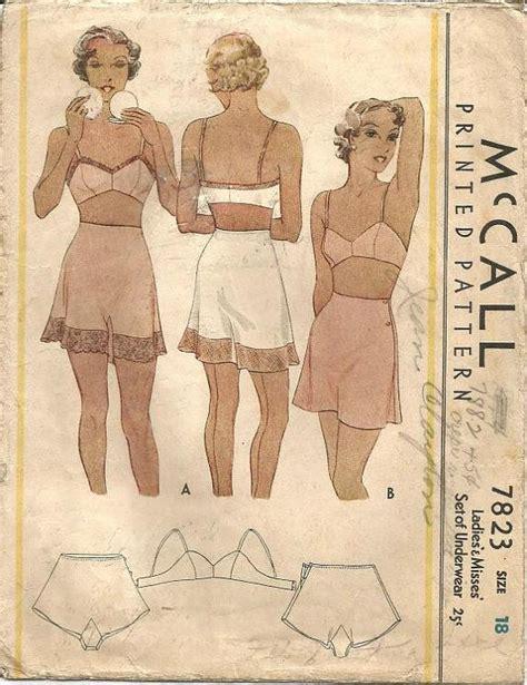 vintage nightwear pattern 1930s tap panties side buttoning and bandeau bra women s