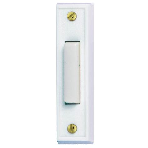 hton bay wired lighted door bell push button white hb