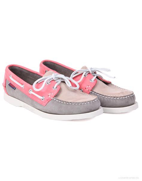 sebago boat shoes womens sebago women s spinnaker boat shoes taupe grey coral