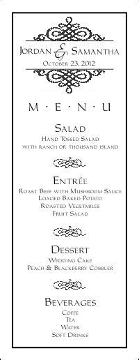 5 course menu template wedding menu templates for free to to hold