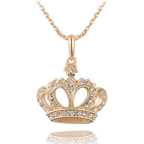 s luxury crown rhinestone gold plated pendant