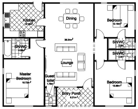 3 Bed Bungalow Floor Plans | 3 bedroom bunglow floor palns joy studio design gallery