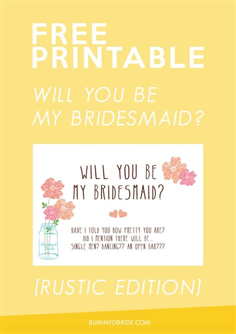 be my free free printable will you be my bridesmaid