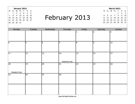 Feb 2013 Calendar February 2013 Calendar Free Printable Allfreeprintable