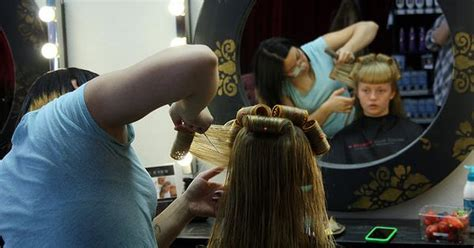 feminize his hair sissy james s wrists were strapped tightly to the salon chair