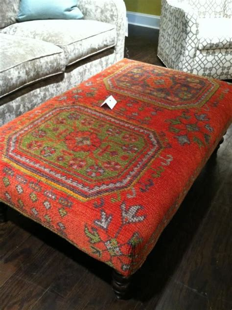 rug covered ottoman loving these kilim rug covered ottomans at crlaine hpmkt via hgtv shelleycholmes cr
