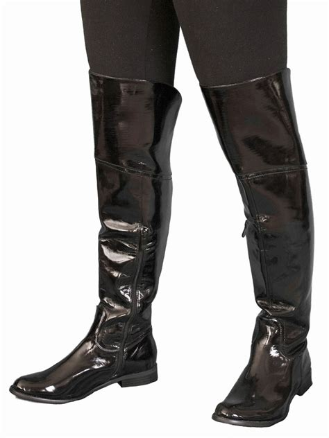 flat knee boots black patent tout ensemble