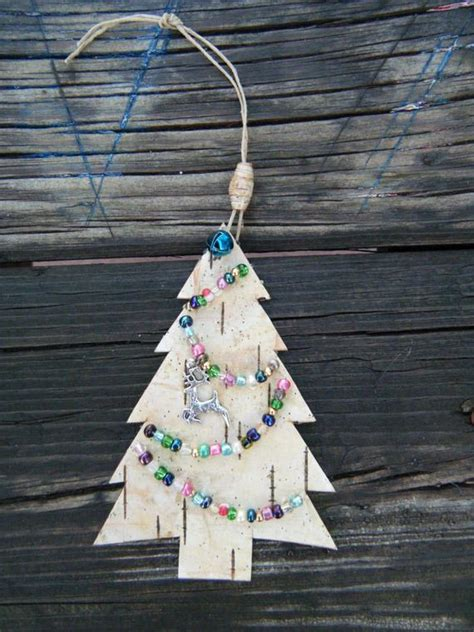christmas tree made out of ornaments tree ornament made out of birch bark by birchbarkbeads