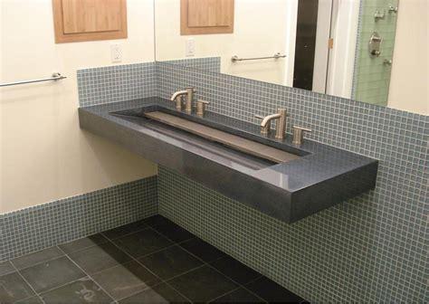trough style bathroom double faucet trough vanity