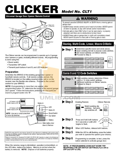 Garage Door Opener Clicker Manual Free Pdf For Chamberlain Liftmaster 1255 2r Garage Door Openers Other Manual