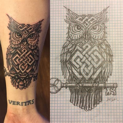 owl viking tattoo celtic knotted owl with key a drawing by daniel bryant