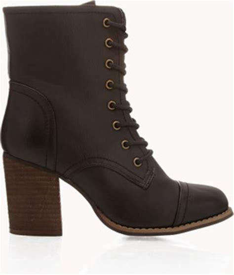 forever 21 block heel combat boots in black lyst