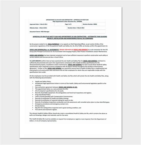 appointment letter sle for subcontractor contractor appointment letter 9 formats sle letters