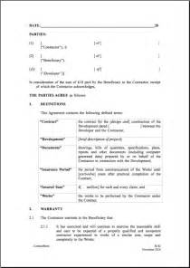 warranty agreement template 13 best images of construction contract agreement one page