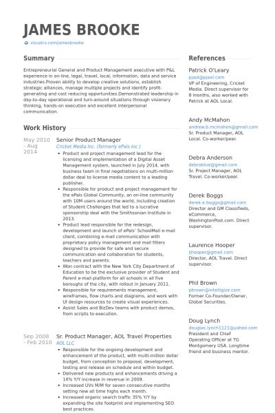 product manager resume exles senior product manager cv beispiel visualcv lebenslauf