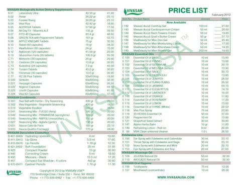 list price price lists